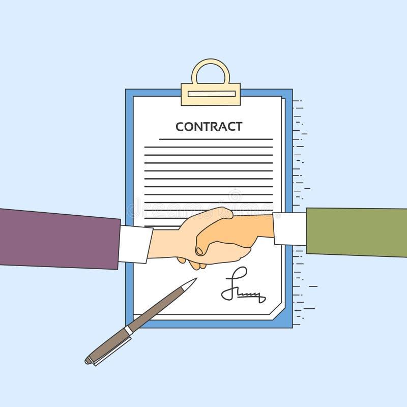 Händedruck-Geschäftsmann-Contract Sign Up-Papierdokument, Geschäftsmann-Handerschütterung Pen Signature Office Desk lizenzfreie abbildung