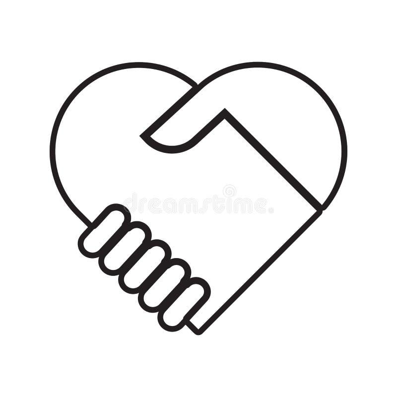 Händedruck mit Liebesikone Element des Gespräches und der Freundschaft für bewegliches Konzept und Netz Appsikone Dünne Linie Iko vektor abbildung