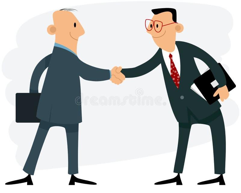 Händedruck mit zwei Geschäftsmännern lizenzfreie abbildung