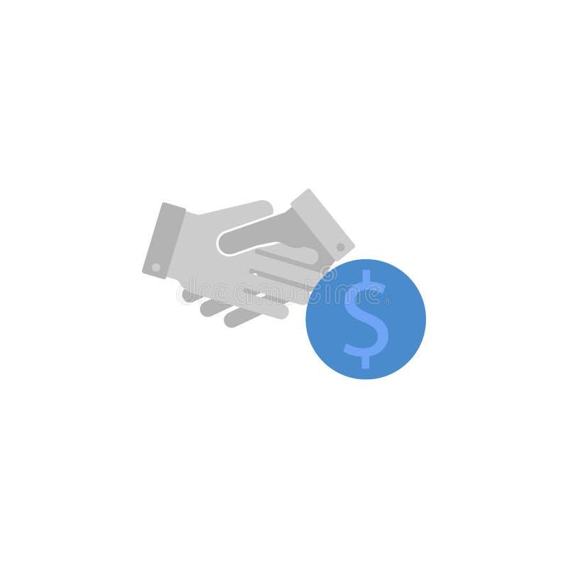 Händedruck, Partnerschaft, Vereinbarung, Abkommen, Finanzierung, Dollar zwei färben blaue und graue Ikone lizenzfreie abbildung