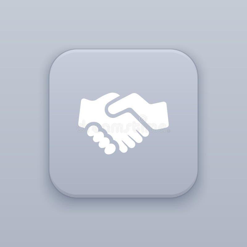 Händedruck, Partnerschaftsknopf, bester Vektor stock abbildung