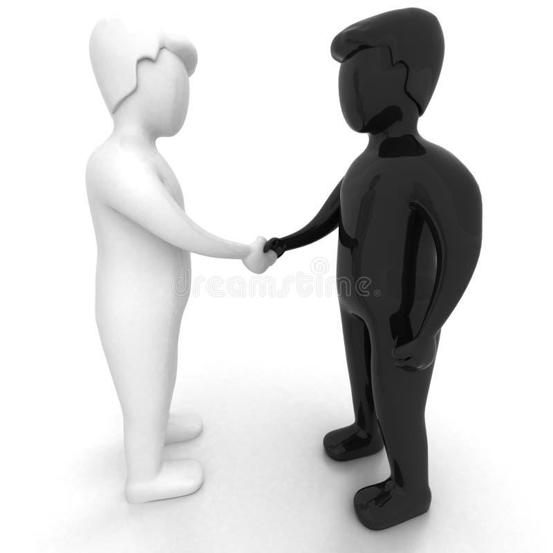HÄNDEDRUCK - Schwarzweiss-Leute 3D lizenzfreie abbildung