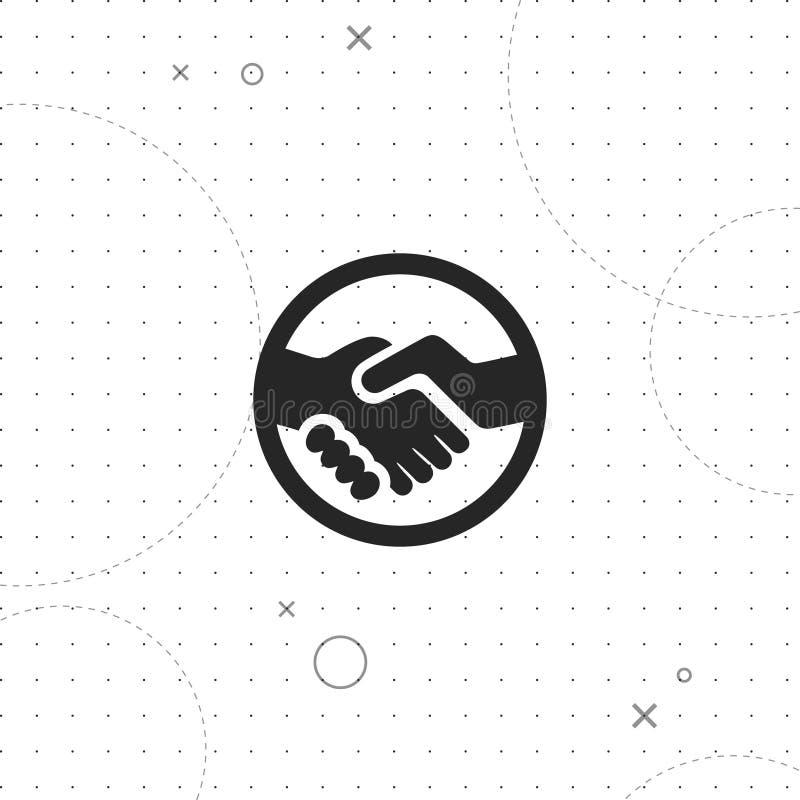 Händedruck, Vereinbarungsvektorikone lizenzfreie abbildung