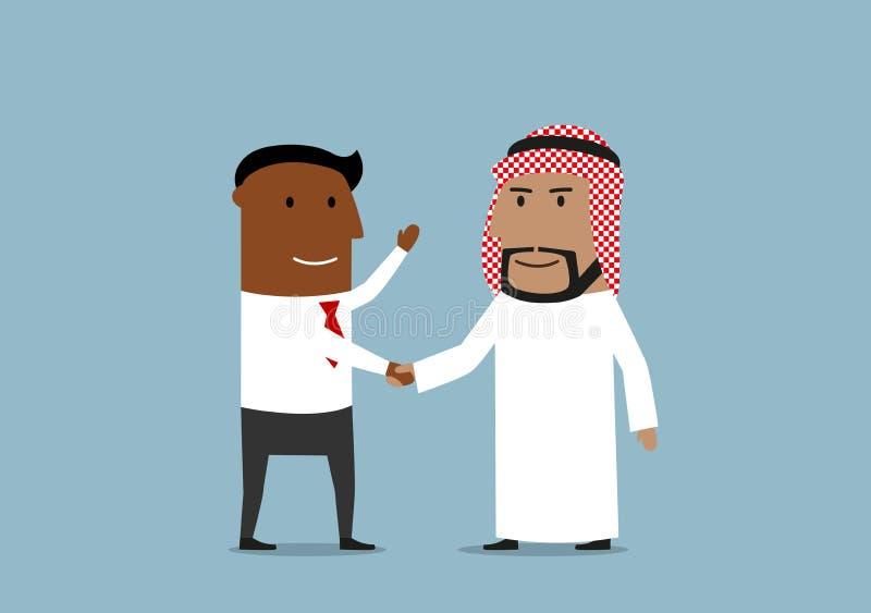 Händedruck von amerikanischen und arabischen Geschäftsmännern stock abbildung
