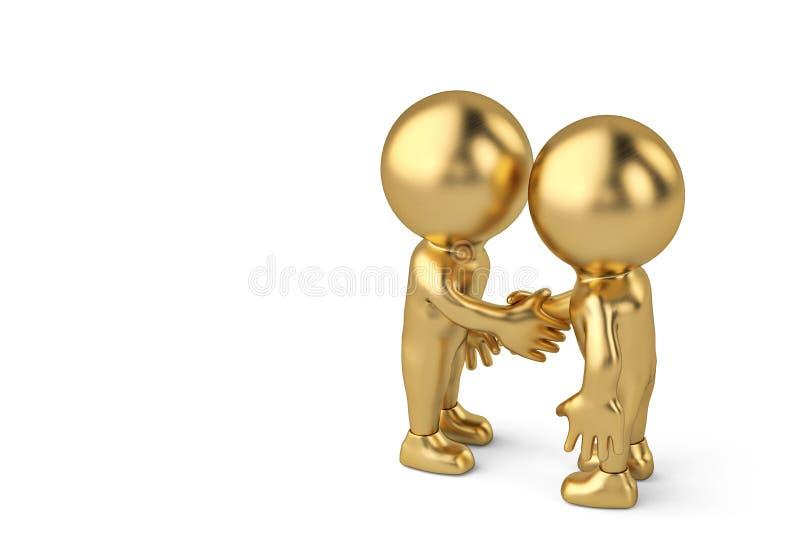 Händedruck zwischen dem Charakter mit zwei Goldgeschäftsmännern Abbildung 3D stock abbildung