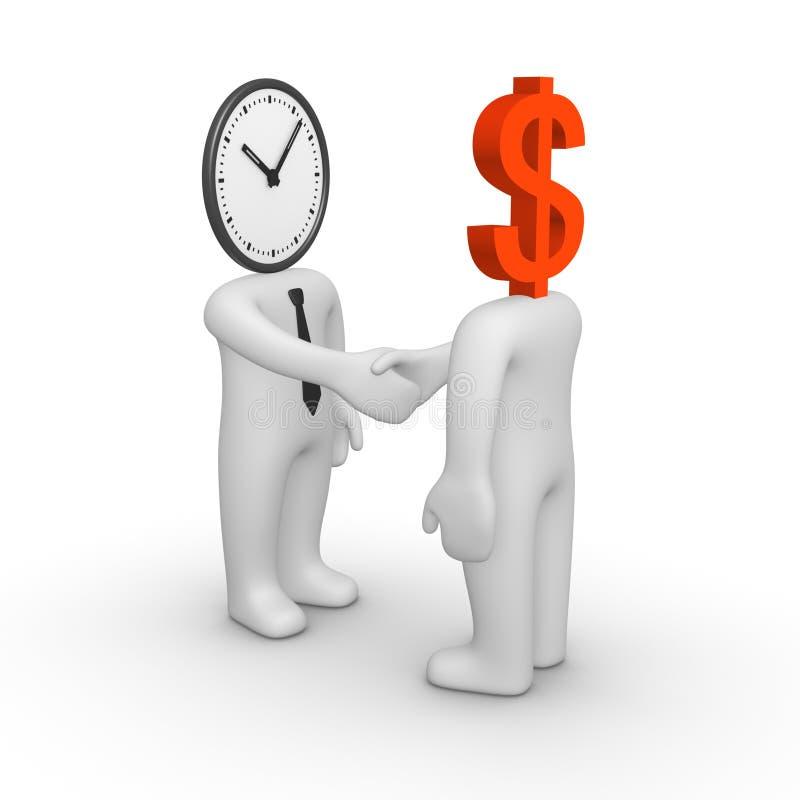 Händedruck zwischen zwei Leuten mit Uhr und Dollarzeichen stattdessen ihre Köpfe stock abbildung