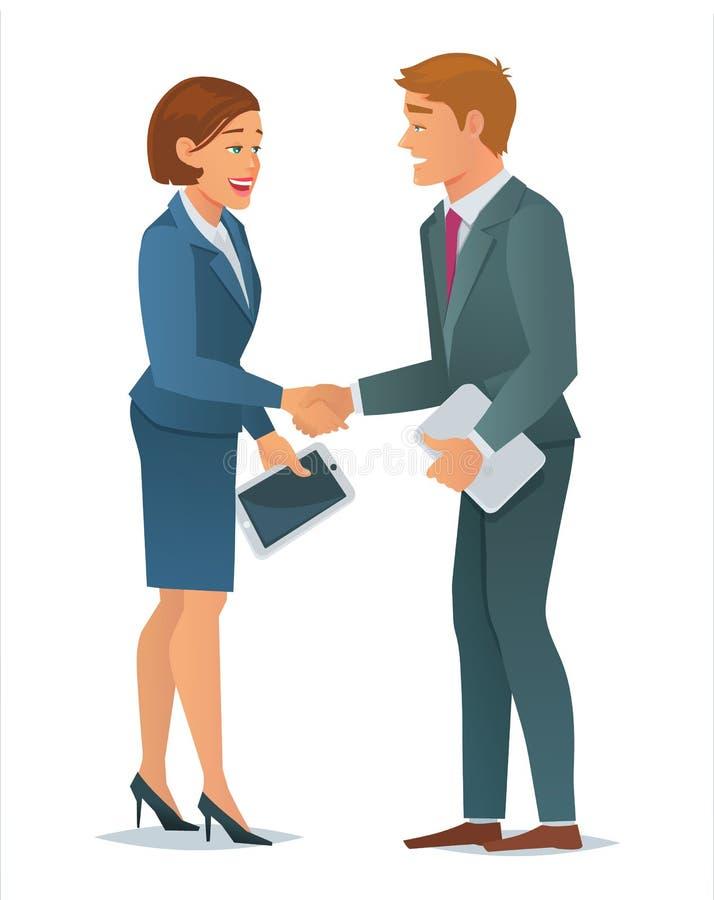 HändedruckGeschäftsfrau und Geschäftsmann lizenzfreie abbildung