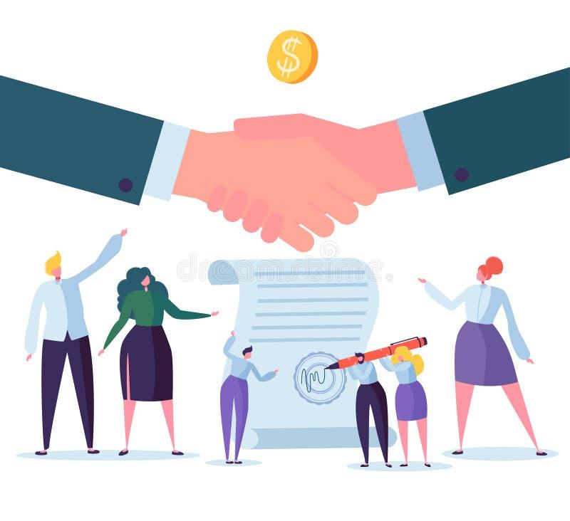 Händedruckgeschäftsvereinbarung Flache Leute-Charaktere, die Vertrag unterzeichnen Erfolgreiche Partnerschaft, Zusammenarbeits-Ko vektor abbildung