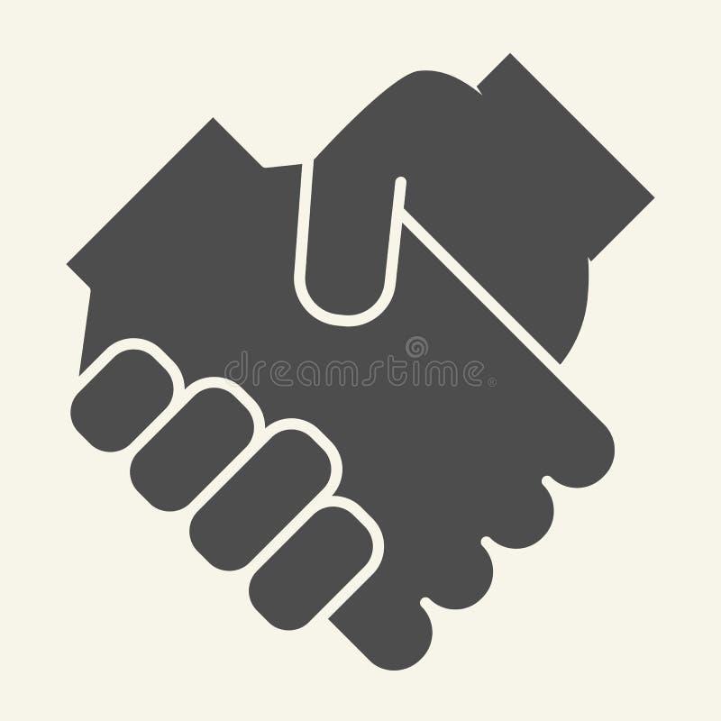 Händedruckkörperikone Partnerschaftsvektorillustration lokalisiert auf Weiß Abkommen Glyph-Artentwurf, bestimmt für Netz und vektor abbildung