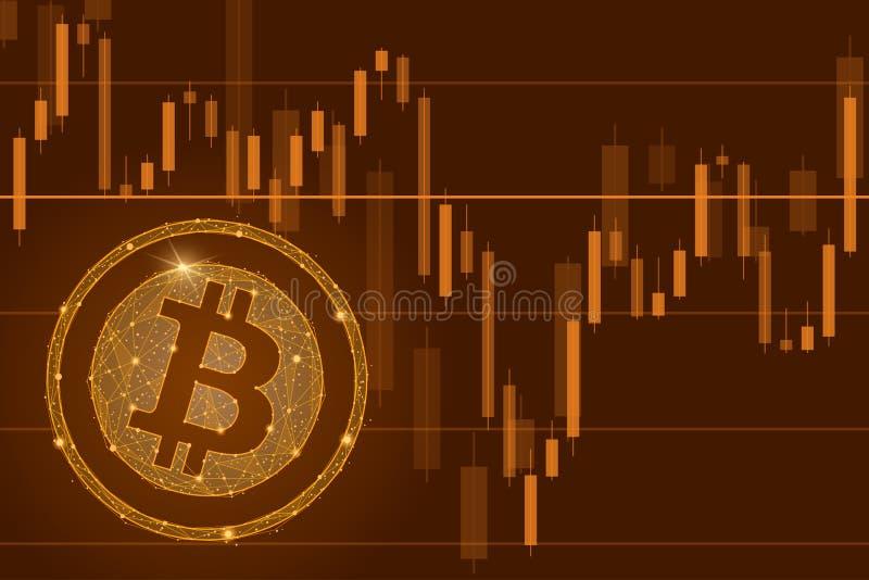 Händelse för försäljning för mynt för Bitcoin cryptocurrency ICO - begrepp för blockchainaffärsbaner Falla av den Bitcoin illustr stock illustrationer