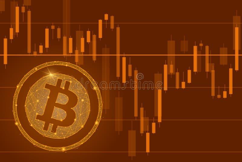 Händelse för försäljning för mynt för Bitcoin cryptocurrency ICO - begrepp för blockchainaffärsbaner Falla av den Bitcoin illustr royaltyfri illustrationer