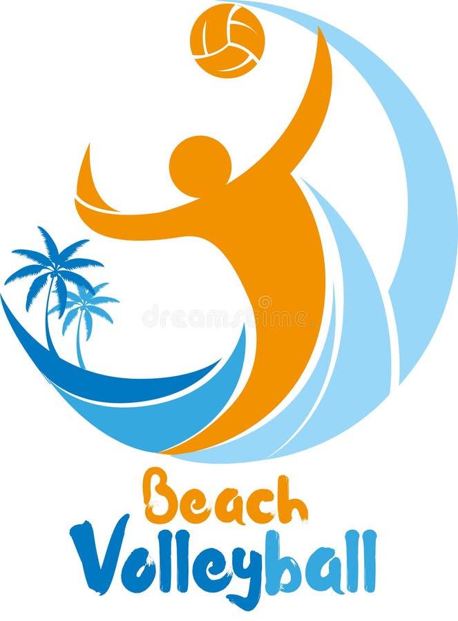 Händelse för logo för turnering för strandvolleyboll royaltyfri illustrationer