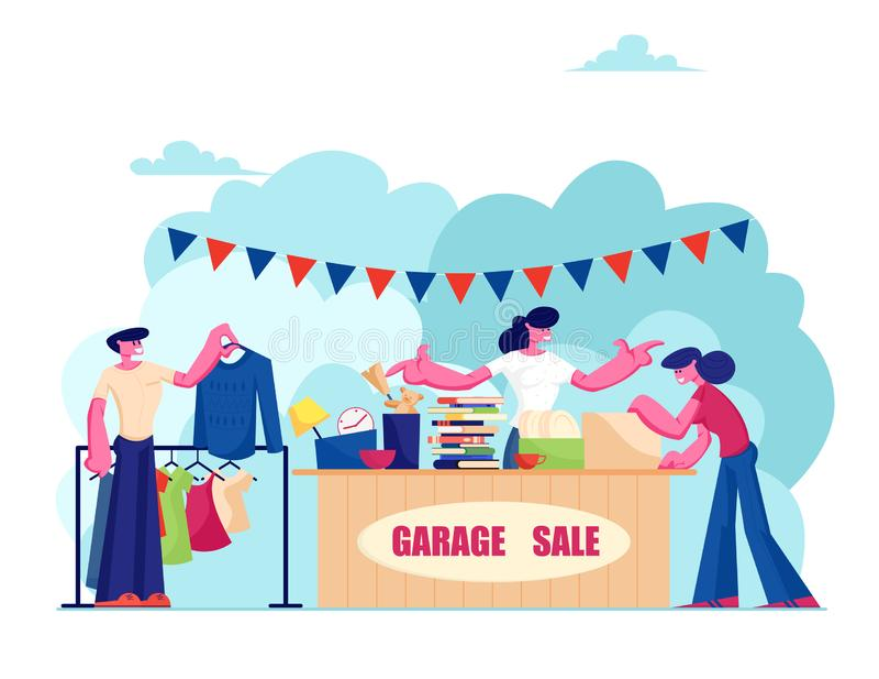 Händelse vid försäljning av garage Försäljningsställ för kvinnor på motbord med olika gamla saker för försäljning, personer som t vektor illustrationer
