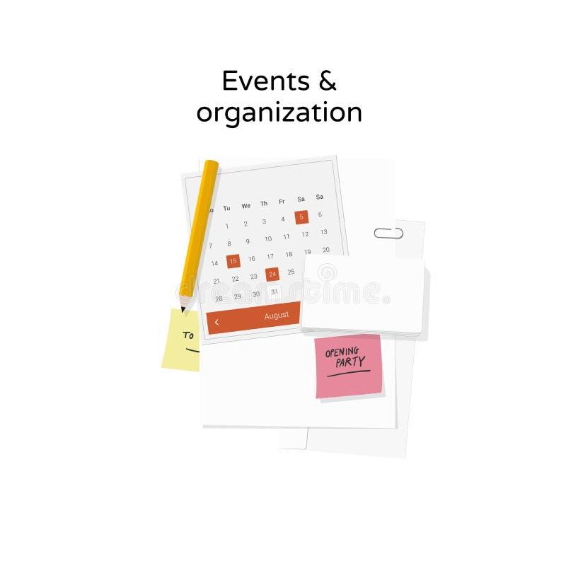 Händelser & organisation vektor illustrationer