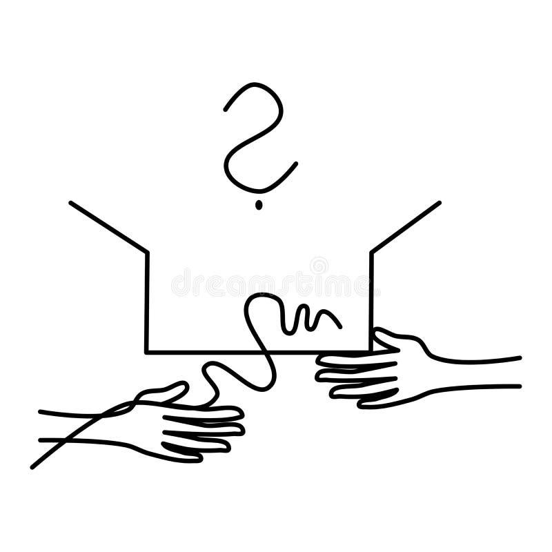 Händer öppnar gåvan royaltyfri illustrationer