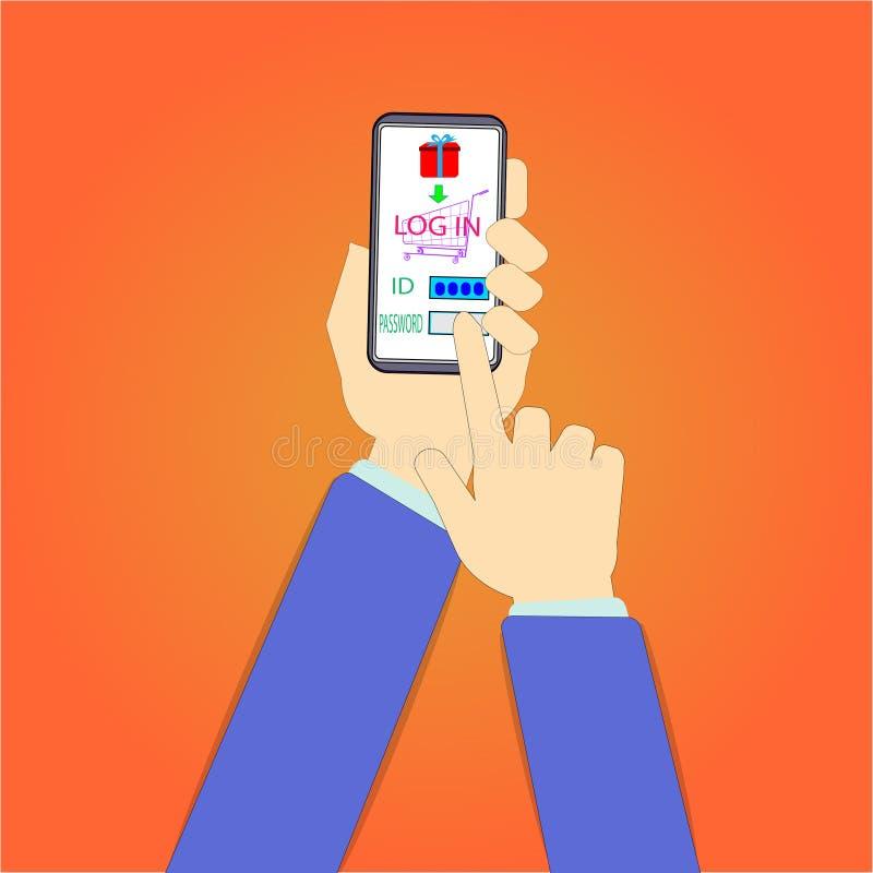 Händer använder en mobiltelefon för att verifiera deras inloggningsvitsord Att att fortsätta —vektorbegrepp royaltyfri illustrationer