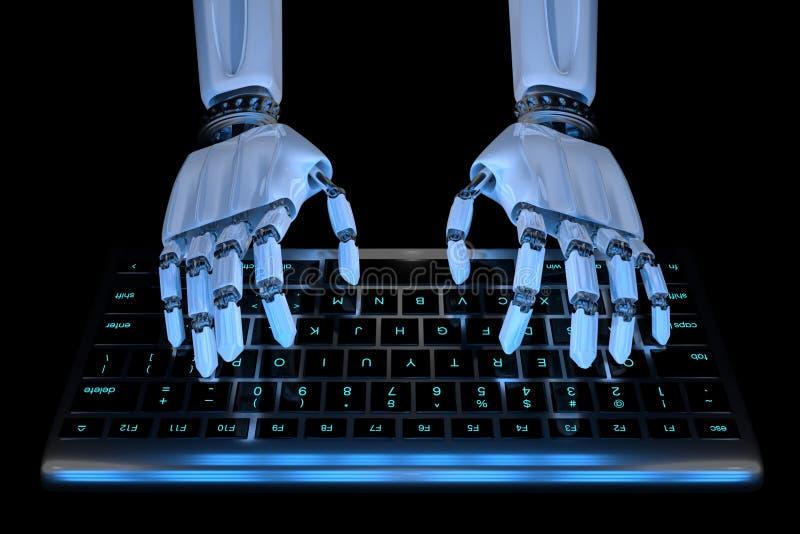 H?nder av ai-roboten som skriver p? tangentbord Robotic cyborghand genom att anv?nda tangentborddatoren 3D framf?r den realistisk stock illustrationer