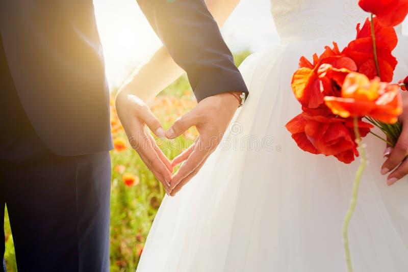 Händer av bruden och brudgummen i en form av hjärta Att gifta sig förälskelse, hör royaltyfri bild