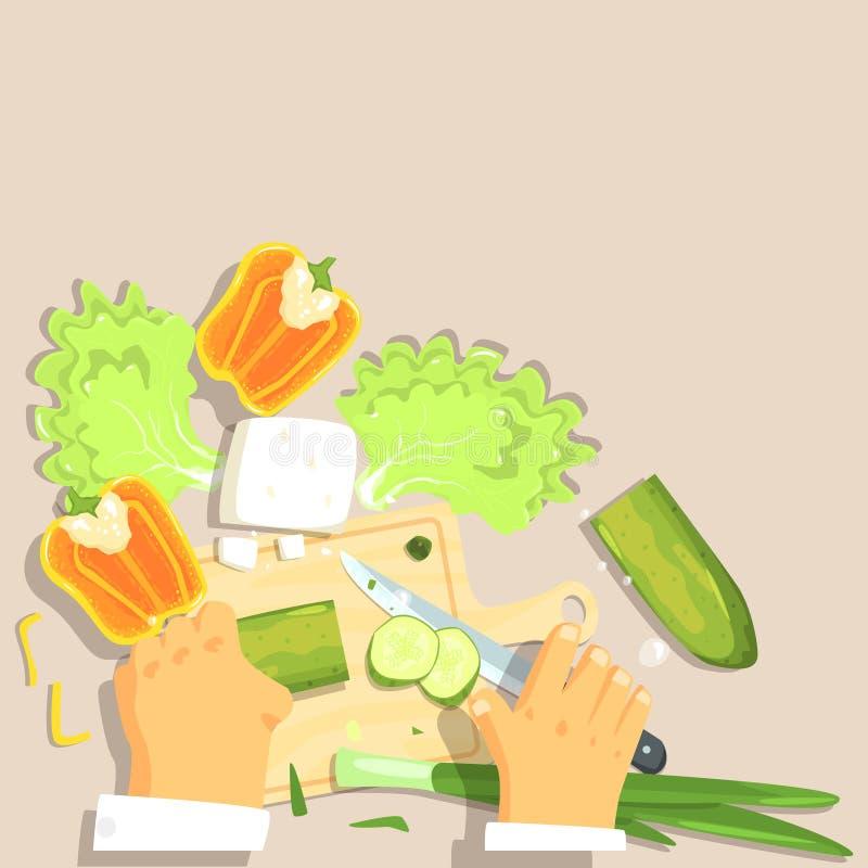 Händer av den yrkesmässiga kocken Cutting Vegetable Ingredients för grekisk salladmatlagning royaltyfri illustrationer