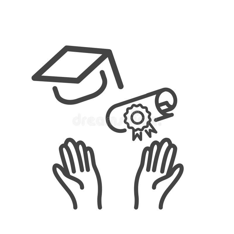 H?nder av doktorand- kasta den isolerade avl?ggande av examenlock- och diplomsymbolen Modern ?versikt p? vit bakgrund vektor illustrationer