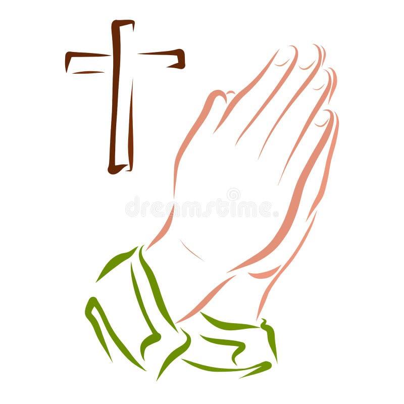 Händer av en be person och ett kors stock illustrationer
