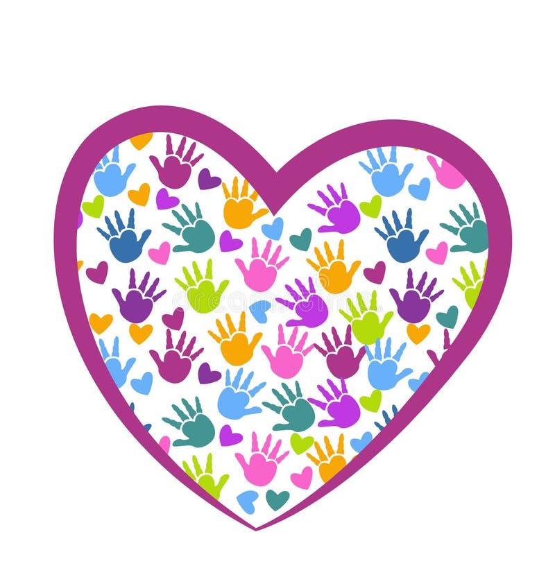 Händer av förälskelselogoen stock illustrationer