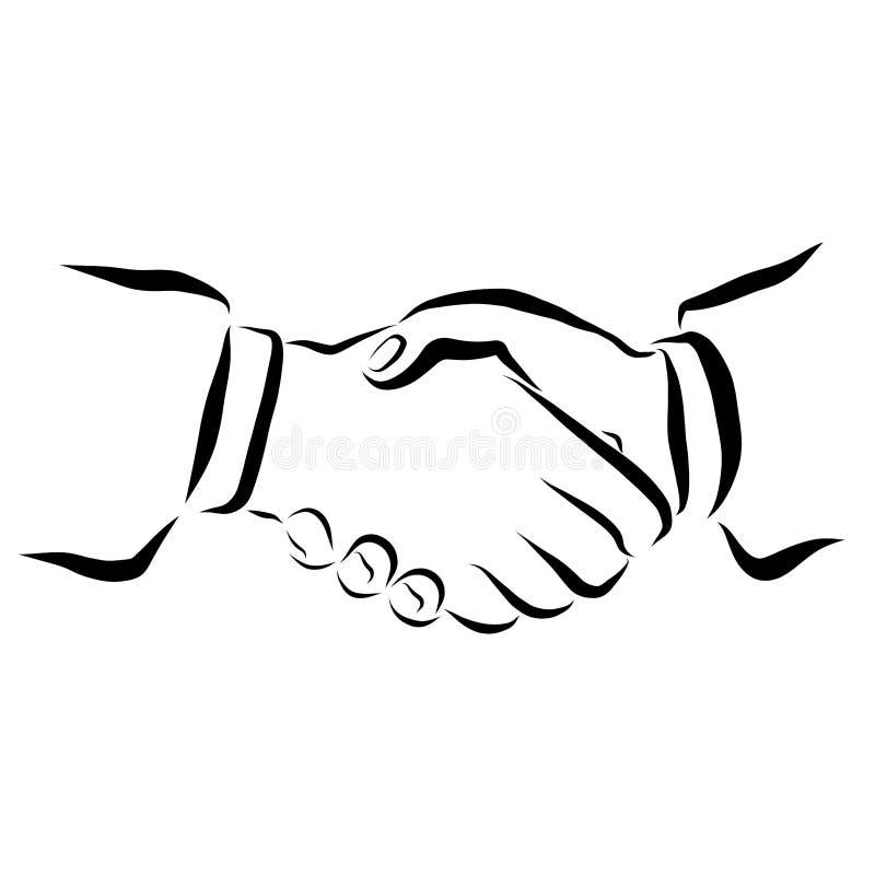 Händer av folk som hälsar sig eller har undertecknat ett avtal royaltyfri illustrationer