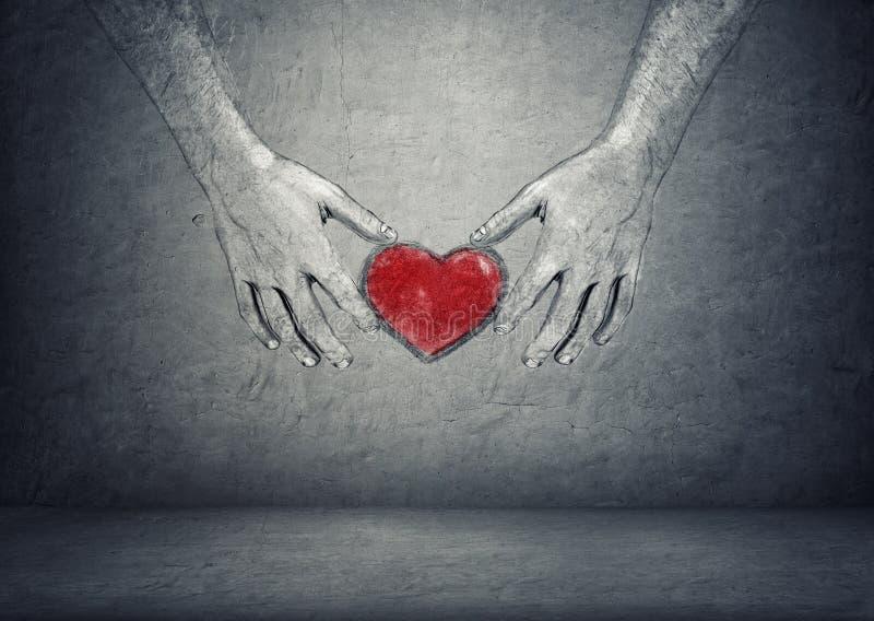 Händer av mannen som rymmer röd hjärta på konkret bakgrund royaltyfri illustrationer