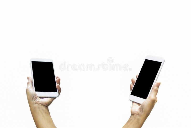Händer av smartphonen för innehav för affärskvinna med den tomma svarta skärmen, på isolerad vit bakgrund, kopieringsutrymme som  royaltyfria foton