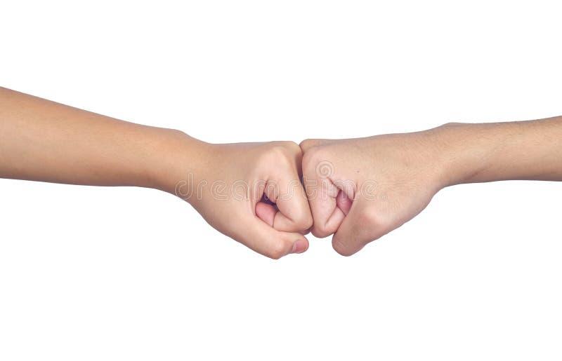 Händer av teamwork för bula för manfolknäve och partnerskapaffären, nävar, gester royaltyfria bilder