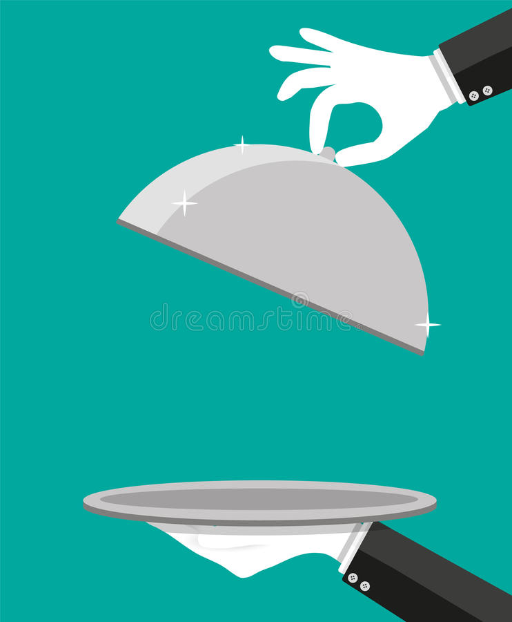 Händer av uppassaren som rymmer den tomma silversticklingshuset vektor illustrationer