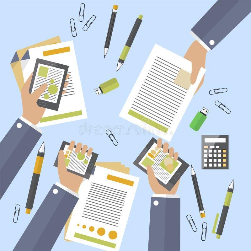 Händer av upptagen apparater och legitimationshandlingar för affärsfolk Stora överenskommelsen undertecknas Fördrag som räknar vi stock illustrationer