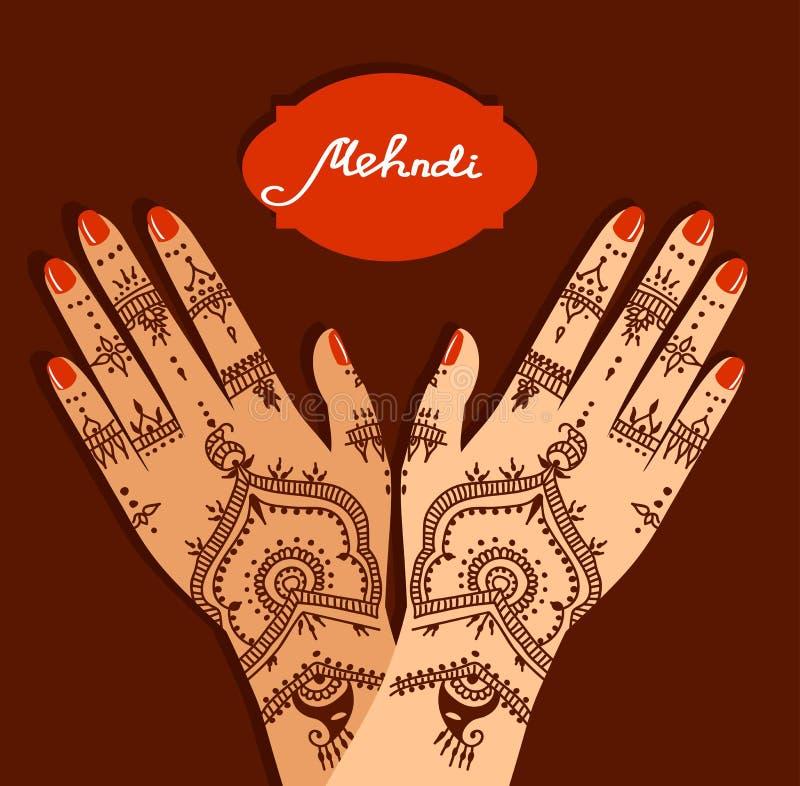 Händer för beståndsdelyogamudra med mehendimodeller Vektorillustration för en yogastudio, tatuering, brunnsorter, vykort, souveni vektor illustrationer