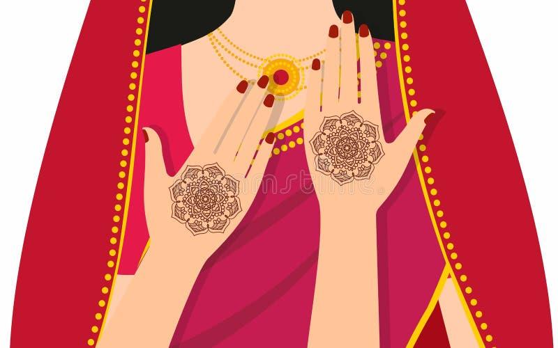 Händer för beståndsdelyogamudra med mehndimodeller Vektorillustration för en yogastudio, tatuering, brunnsorter, vykort, souvenir royaltyfri illustrationer