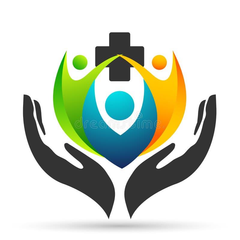 Händer för folk för jordkloträddningvärld som medicinska tar hälsovårdklinikräddning för att skydda vektorn för beståndsdel för f vektor illustrationer