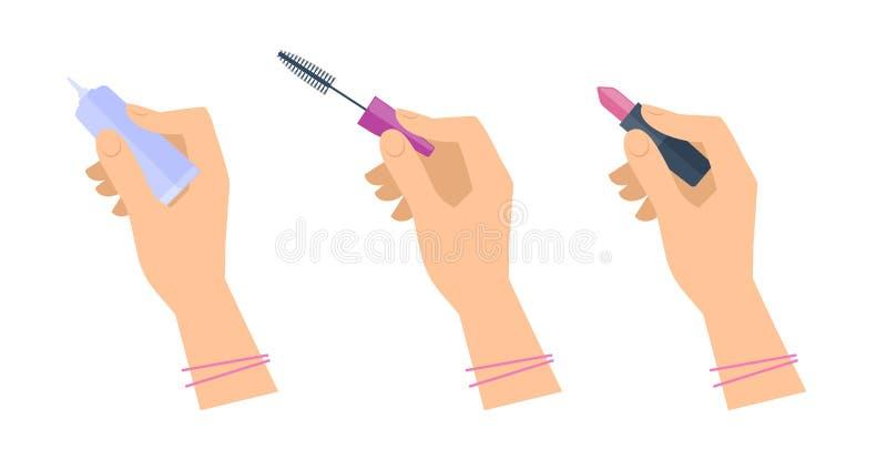 Händer för kvinna` s med kosmetisk tillbehör: läppstift mascaraborste stock illustrationer