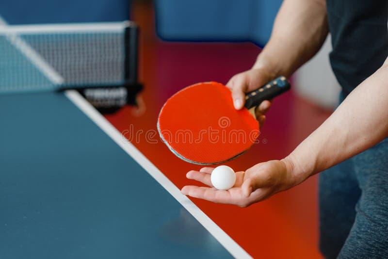 Händer för manlig person med knackar den pongracket och bollen fotografering för bildbyråer
