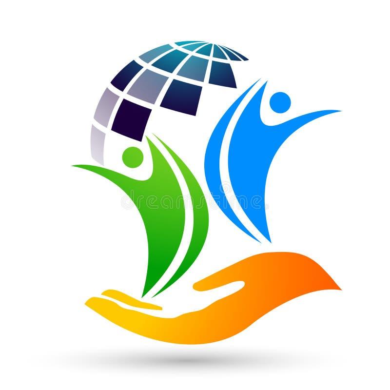 Händer för omsorg för folk för räddning för jordkloträddningvärld som tar omsorgfolk för att spara för att skydda vektorn för bes stock illustrationer
