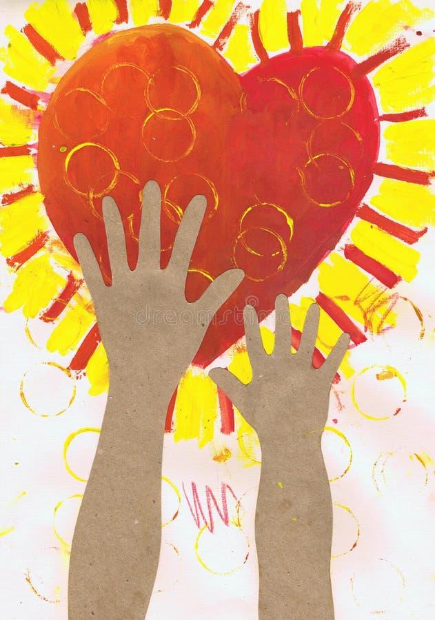 Händer för ` s för barn för ` för applikation för teckning för barn` s når för hjärta`-papper stock illustrationer