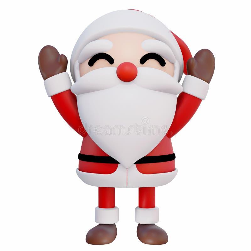 Händer för Santa Claus 3d tecknad film 2 upp och ögon ler främre angle1 stock illustrationer