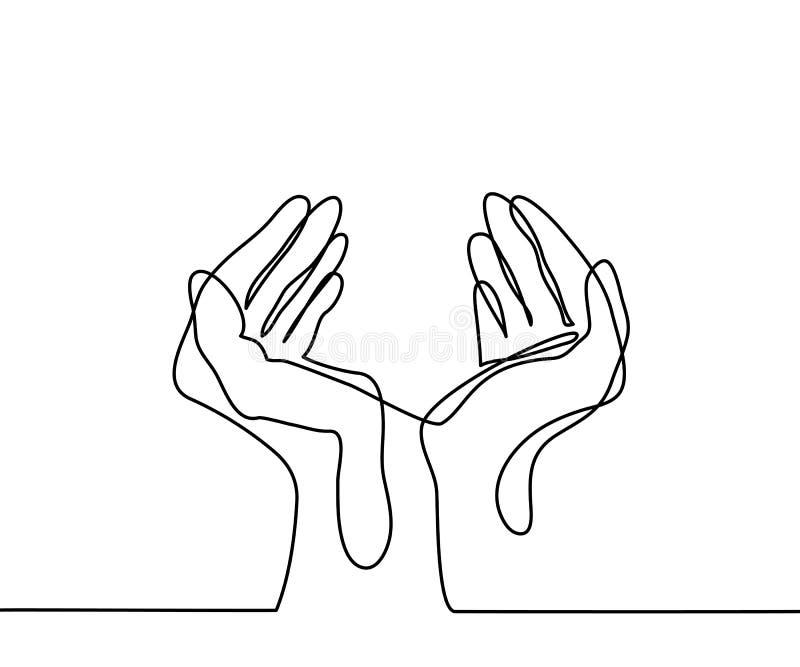 Händer gömma i handflatan tillsammans royaltyfri illustrationer