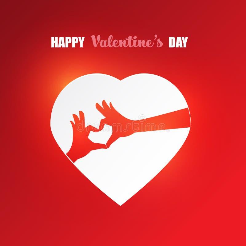 Händer gör sammandrag hjärtaform på röd hjärta med lycklig text för dagen för valentin_ s vektor illustrationer