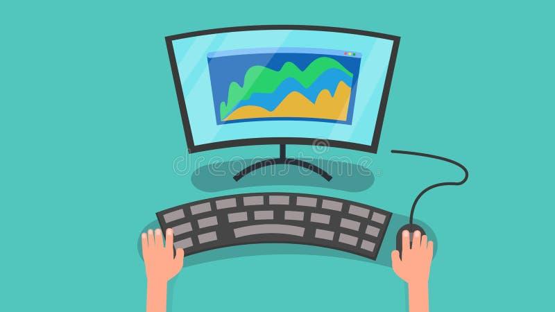 Händer genom att använda datoren med grafen av illustrationen för affärsmarknadsföringsvektor persondator och information på skär stock illustrationer