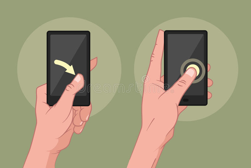 Händer genom att använda mobila enheten stock illustrationer