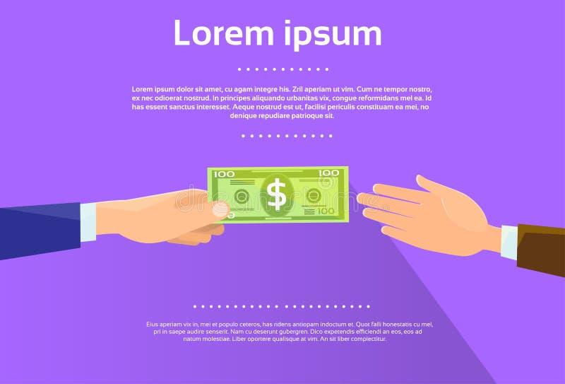 Händer ger den gröna sedelaffärsmannen för dollaren royaltyfri illustrationer