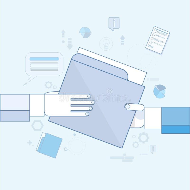 Händer ger mappdokumentlegitimationshandlingar, data för information om affärsmanaktie royaltyfri illustrationer