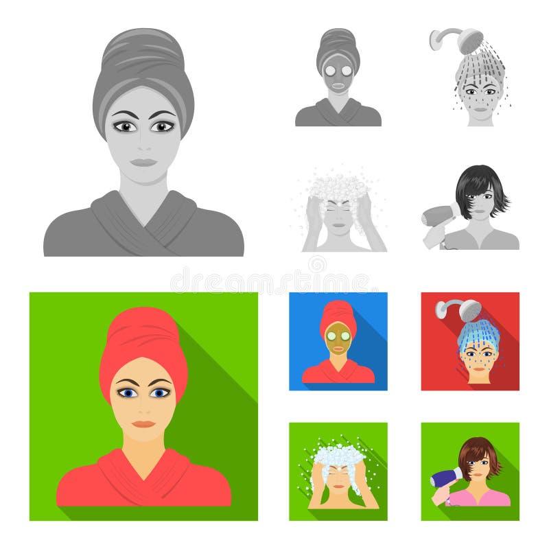 Händer, hygien, cosmetology och annan rengöringsduksymbol i monokrom, lägenhetstil Bada kläder, hjälpmedelsymboler i uppsättnings royaltyfri illustrationer