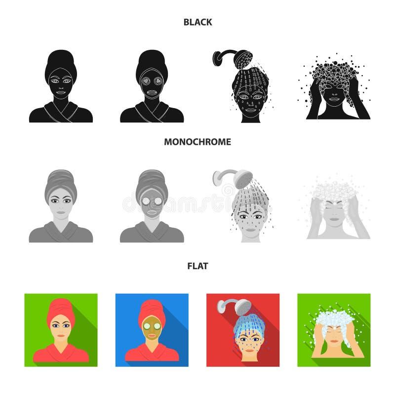 Händer, hygien, cosmetology och annan rengöringsduksymbol i svart, lägenhet, monokrom stil Bada kläder, hjälpmedelsymboler i upps royaltyfri illustrationer