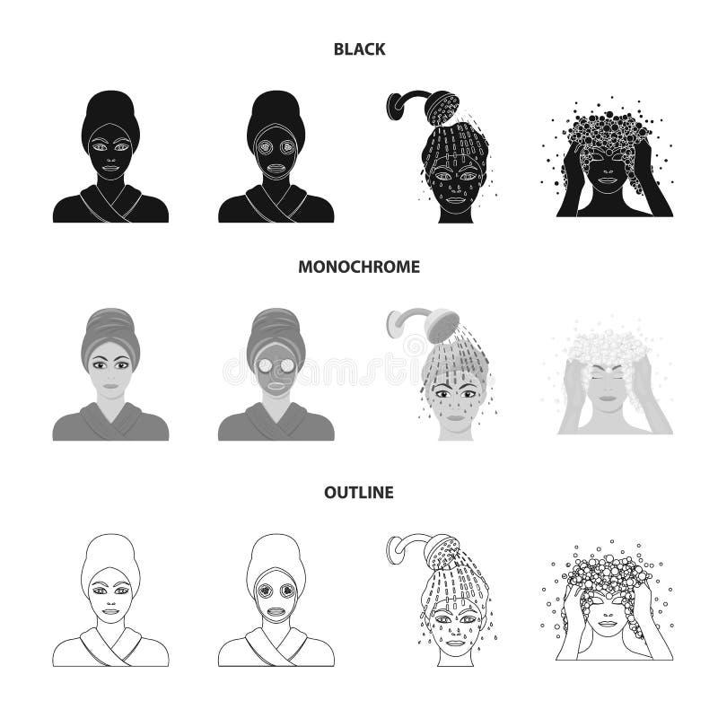 Händer, hygien, cosmetology och annan rengöringsduksymbol i svart, monokrom, översiktsstil Bada kläder, hjälpmedelsymboler i upps stock illustrationer