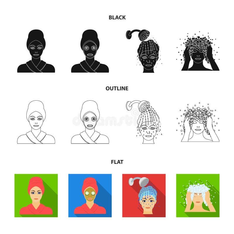 Händer, hygien, cosmetology och annan rengöringsduksymbol i tecknad film utformar Bada kläder, hjälpmedelsymboler i uppsättningsa vektor illustrationer